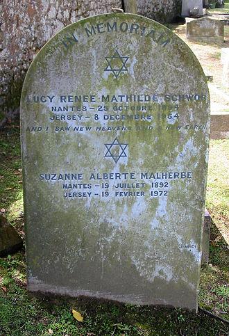 Claude Cahun - Claude Cahun's gravestone in the cemetery of St. Brelade's Church, Jersey