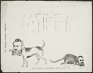 Arthur Seymour - Chairman of Committees, 1882 caricature, showing Ebenezer Hamlin, on the left, as a dog with a bone marked 'Chairman of Committees', while a rat with a man's face, probably Arthur Seymour, previous Chairman of Committees, was defeated in November 1881