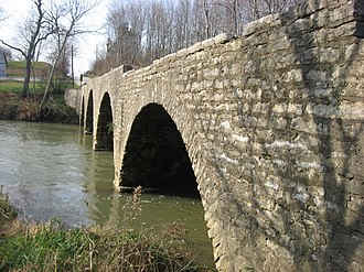 National Register of Historic Places listings in Decatur County, Indiana - Image: Champ's Ford Bridge, downstream side