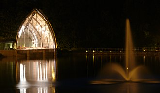 Rose-Hulman Institute of Technology - White Chapel and fountain at night.