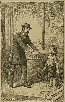 A child with worn clothes stands outside a baker's shop, and a well-dressed man gives him a pie