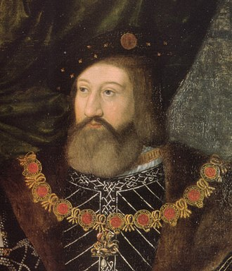 Charles Brandon, 1st Duke of Suffolk - Charles Brandon, 1st Duke of Suffolk, detail of a double wedding portrait attributed to Jan Gossaert, c. 1516. He wears the Collar of the Garter