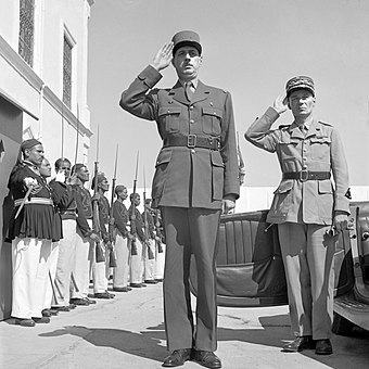 General Charles de Gaulle and General Charles Mast saluting at Tunis, Tunisia, 1943. Charles de Gaulle 1943 Tunisia.jpg