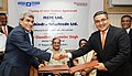 Chaudhary Birender Singh witnessing the signing ceremony of the Joint Venture Agreement between MSTC Ltd. and Mahindra Intertrade Ltd. for setting up of first Auto Shredding Plant in India, in New Delhi.jpg