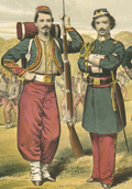 Enlisted soldier and officer of the United States Zouave Cadets