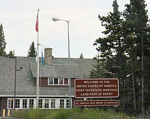 Chief Mountain Border Station and Quarters - Looking at the border station from Canada