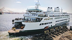 Seattle–Bremerton ferry - MV Chimacum, ferry on the Seattle–Bremerton route, arriving at Colman Dock in Seattle