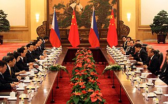 China–Philippines relations - Bilateral meeting between the People's Republic of China and the Philippines at the East Hall, Great Hall of the People.