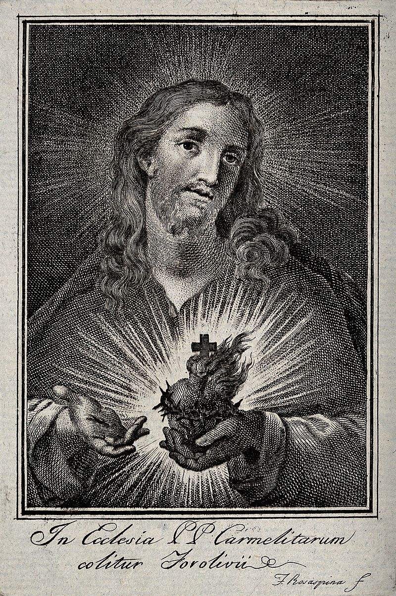 Christ presenting the Sacred Heart. Engraving by Francesco R Wellcome V0035653.jpg