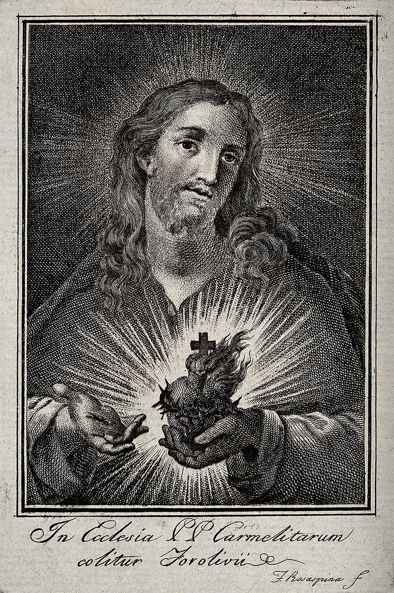Christ presenting the Sacred Heart. Engraving by Francesco R Wellcome V0035653.jpg