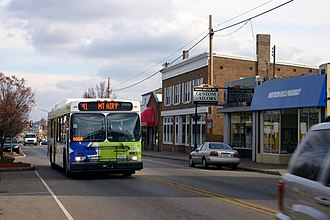 Southwest Ohio Regional Transit Authority - A Metro Route 41 bus heads West on Galbraith Road in North College Hill, Ohio in 2010
