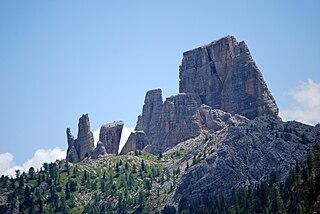 Cinque Torri mountain in the Dolomites