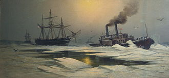Ice Boat No. 3 - An 1877 painting depicting Ice Boat No. 3 on the Delaware, towing a sailing ship