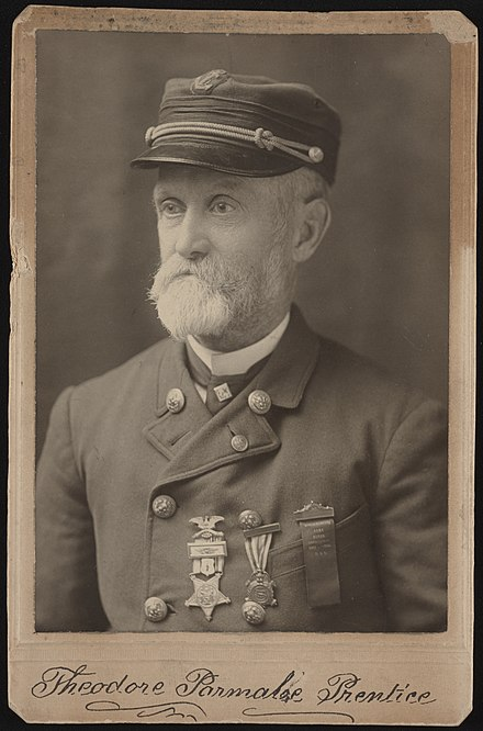 Union veteran Theodore Parmalee Prentice of U.S.S. Connecticut in uniform with medals. From the Liljenquist Family Collection of Civil War Photographs, Prints and Photographs Division, Library of Congress