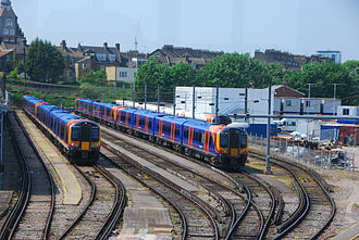 British Rail Class 450 - South West Trains Siemens Class 450/0 Desiro EMUs No. 450075 and 450109 at Clapham Junction stabling sidings.