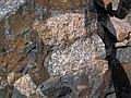 Clast-rich impact pseudotachylite (Sudbury Breccia, Paleoproterozoic, 1.85 Ga; Windy Lake Northwest roadcut, Sudbury Impact Structure, Ontario, Canada) 65 (46968977594).jpg