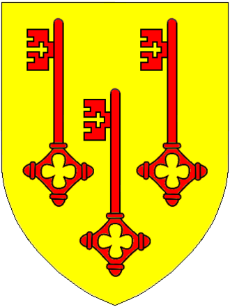 "Walter de Claville - Arms of Clavell of Burlescombe: Or, three keys gules. These are canting arms derived from the Latin Clavis, a ""key"""