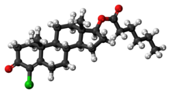 Clostebol caproate molecule ball.png