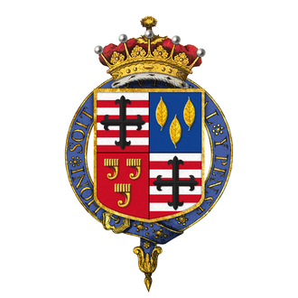 William Leveson-Gower, 4th Earl Granville - Garter-encircled coat of arms of William Leveson-Gower, 4th Earl Granville, KG, as displayed on his Order of the Garter stall plate in St. George's Chapel, Windsor Castle.