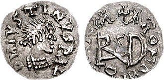 "Gepids - Coin of the Gepids. Sirmium mint. Struck in the name of Justin I, ca. 518-526 CE. Obv: D N IVSTINVS P LV (first N retrograde), pearl-diademed and cuirassed bust right. Rev: VINVICTL ROMLNI, large ""Theodericus"" monogram across fields, cross above."