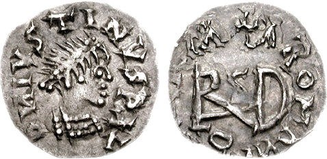 Coin of the Gepids. Sirmium mint. Struck in the name of Justin I, 517-527 CE