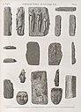 Collection d'antiques. 1-6. Groupe en basalte apporté des oasis; 7-11. en pierre ollaire; 12-15. Masques en bois; 16-18. Enveloppes de momies (NYPL b14212718-1268238).jpg