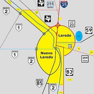Laredo–Colombia Solidarity International Bridge - Image: Colombia Solidarity International Bridge location