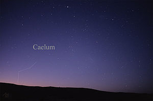 Image of the constellation Caelum, showing the pattern of its stars as seen in the night sky