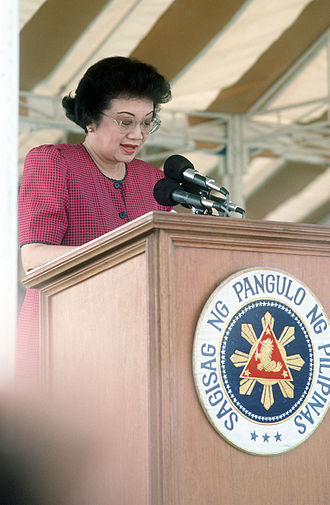 Corazon Aquino - President Corazon Aquino addresses base workers at a rally at Remy Field concerning jobs for Filipino workers after the Americans withdraw from the U.S. facilities