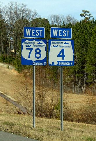 Appalachian Development Highway System - ADHS signs for U.S. Route 78/Alabama State Route 4/ADHS Corridor X with their distinctive blue color