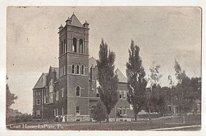 Sullivan County Courthouse (Pennsylvania) - Courthouse on a 1918 postcard