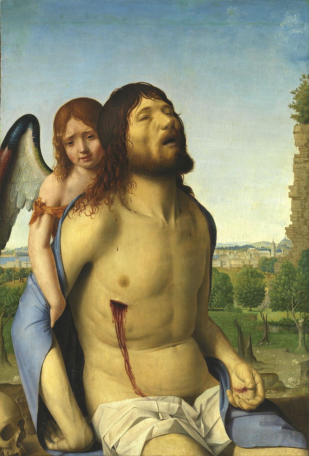 Antonello da Messina (1430–1479), Cristo in pietà e un angelo, 1476-1478 circa, olio su tavola di pioppo, 74×51 cm, Madrid, Museo del Prado