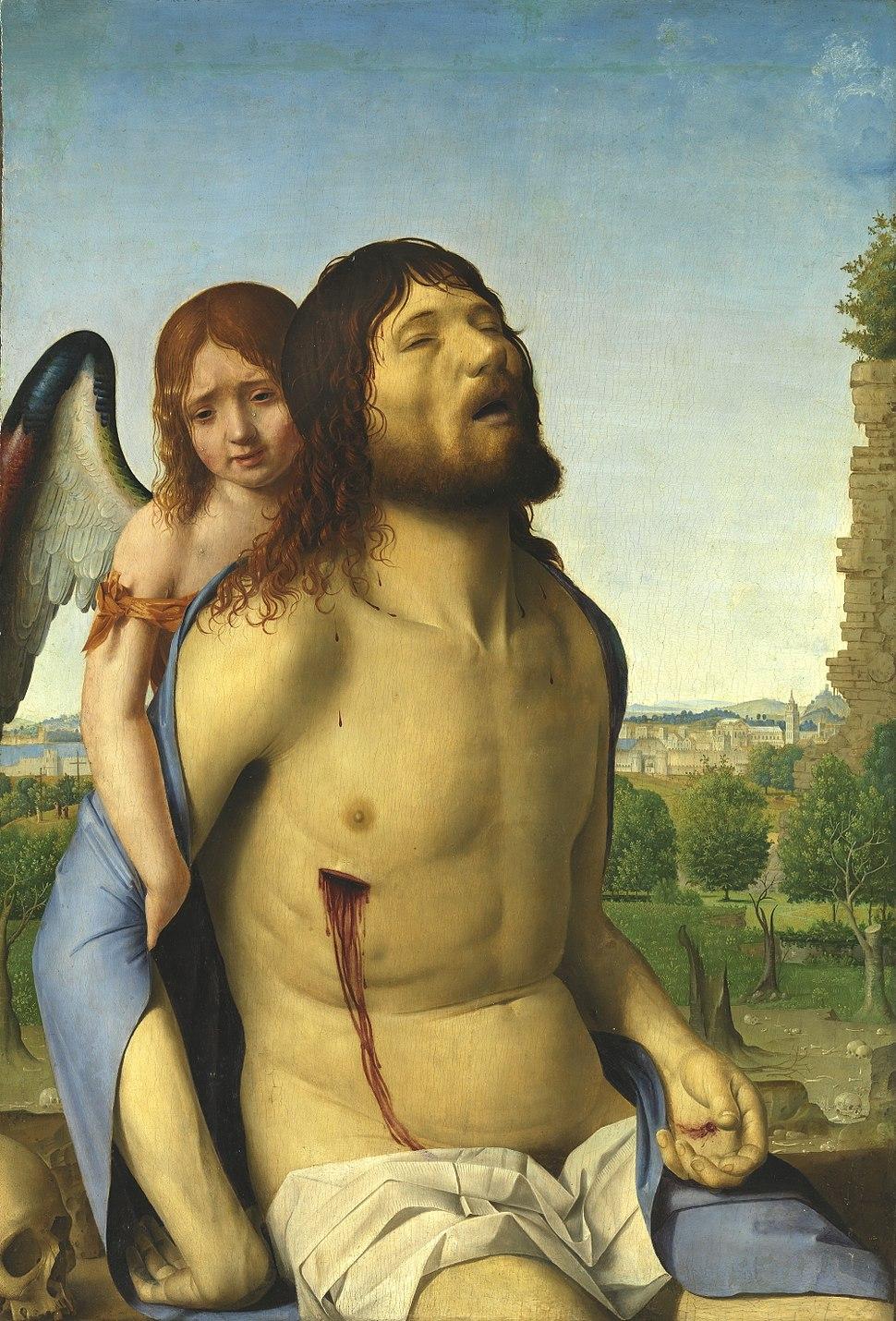 Cristo muerto, sostenido por un ángel (Antonello da Messina)
