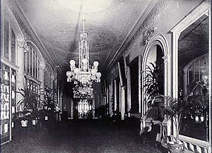 Cross Hall - The Cross Hall c. 1898, showing James Hoban's original Ionic columns and Louis Comfort Tiffany's glass screen separating the Cross Hall and Entrance Hall