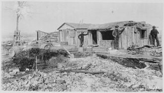 Fort Keogh - Crude building under construction at Fort Keogh, c. 1889