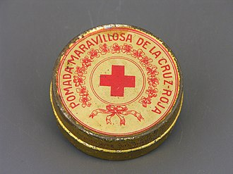 Topical medication - Metal case for Cruz Roja ointment from Mexico (beginning of the 20th century) from the permanent collection of the Museo del Objeto del Objeto.