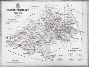 Csanád County - Ethnic map of the county with data of the 1910 census (see the key in the description).