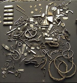 Cuerdale Hoard - A selection of silver items from the Cuerdale Hoard displayed in the British Museum