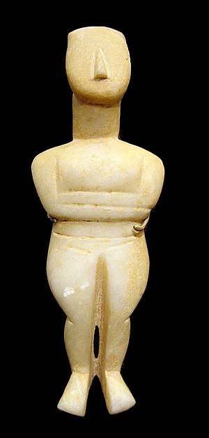 Goulandris Museum of Cycladic Art - An example of the collection: Cycladic female figurine, Canonical type, early work of the Spedos variety
