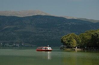Lake Pamvotida - A ferry on Lake Pamvotida, returning from the island.