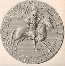 Steel engraving and enhancement of the reverse side of the Great Seal of David I, a picture in the Anglo-Continental style depicting David as a warrior leader.