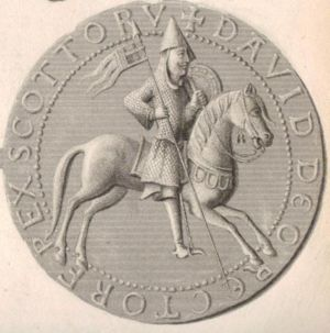 England and King David I - Steel engraving and enhancement of the reverse side of the Great Seal of David I, a picture in the Anglo-Continental style depicting David as a warrior leader. It is very similar to the seal of his brother, Alexander I of Scotland.
