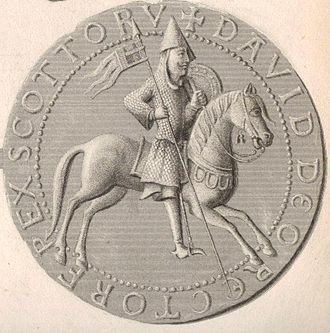David, Prince of the Cumbrians - Steel engraving and enhancement of the reverse side of the Great Seal of David I, a picture in the Anglo-Continental style depicting David as a warrior leader. It is very similar to the seal of his brother, Alexander I of Scotland.