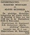 De Nieuwe Koerier vol 056 no 189 advertisement engagement Maryke Mostart to Aloys Hunfeld.jpg