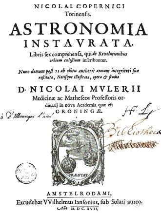 De revolutionibus orbium coelestium - Title page, 3rd ed., Amsterdam, Nicolaus Mulerius, publisher, 1617