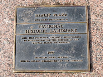 Dealey Plaza - National Historic Landmark plaque at Dealey Plaza.