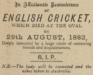 The Ashes - The death notice that appeared in The Sporting Times