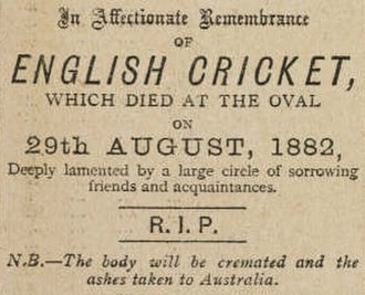 1882 in sports - The death notice which first named the Ashes