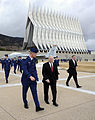 Defense.gov News Photo 110304-F-DQ383-012 - Secretary of Defense Robert M. Gates walks with U.S. Air Force Academy Cadet Wing Commander Josh Larson prior to teaching both a Political Science.jpg