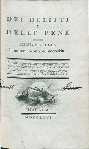 On Crimes and Punishments - Dei delitti e delle pene (1766), frontpage, 6th edition.
